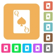 Queen of spades card flat icons on rounded square vivid color backgrounds. - Queen of spades card rounded square flat icons