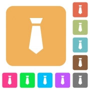 Tie flat icons on rounded square vivid color backgrounds. - Tie rounded square flat icons