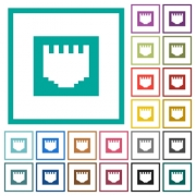 Ethernet connector flat color icons with quadrant frames on white background - Ethernet connector flat color icons with quadrant frames