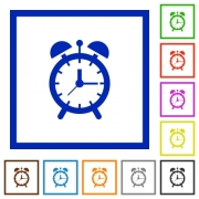 Alarm clock flat color icons in square frames on white background - Alarm clock flat framed icons