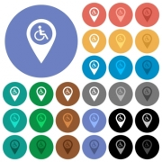 Disability accessibility GPS map location multi colored flat icons on round backgrounds. Included white, light and dark icon variations for hover and active status effects, and bonus shades on black backgounds. - Disability accessibility GPS map location round flat multi colored icons