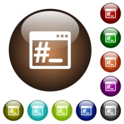 Linux root terminal white icons on round color glass buttons - Linux root terminal color glass buttons