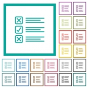 Questionnaire flat color icons with quadrant frames on white background - Questionnaire flat color icons with quadrant frames
