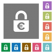 Locked euros flat icons on simple color square backgrounds - Locked euros square flat icons