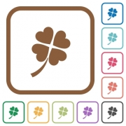 Four leaf clover simple icons in color rounded square frames on white background - Four leaf clover simple icons