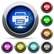 Network printer icons in round glossy buttons with steel frames - Network printer round glossy buttons