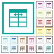 Spreadsheet adjust table column width flat color icons with quadrant frames on white background - Spreadsheet adjust table column width flat color icons with quadrant frames