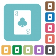Three of clubs card white flat icons on color rounded square backgrounds - Three of clubs card rounded square flat icons