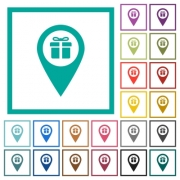 Gift shop GPS map location flat color icons with quadrant frames on white background - Gift shop GPS map location flat color icons with quadrant frames