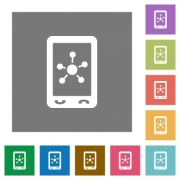 Mobile social networking flat icons on simple color square backgrounds - Mobile social networking square flat icons