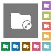 Uncompress directory flat icons on simple color square backgrounds - Uncompress directory square flat icons