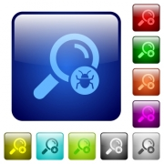Scanning for malware icons in rounded square color glossy button set - Scanning for malware color square buttons