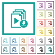 Download playlist flat color icons with quadrant frames on white background