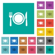 Dinner multi colored flat icons on plain square backgrounds. Included white and darker icon variations for hover or active effects. - Dinner square flat multi colored icons