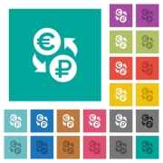 Euro Ruble money exchange multi colored flat icons on plain square backgrounds. Included white and darker icon variations for hover or active effects. - Euro Ruble money exchange square flat multi colored icons