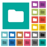 Single folder multi colored flat icons on plain square backgrounds. Included white and darker icon variations for hover or active effects. - Single folder square flat multi colored icons
