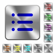 Unordered list engraved icons on rounded square glossy steel buttons - Unordered list rounded square steel buttons