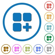 Add new component flat color vector icons with shadows in round outlines on white background - Add new component icons with shadows and outlines