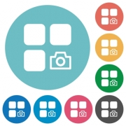Camera plugin flat white icons on round color backgrounds - Camera plugin flat round icons