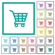 Shopping cart flat color icons with quadrant frames on white background - Shopping cart flat color icons with quadrant frames