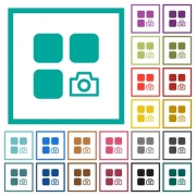 Camera plugin flat color icons with quadrant frames on white background - Camera plugin flat color icons with quadrant frames
