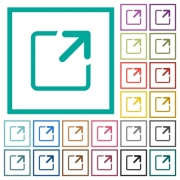Maximize window flat color icons with quadrant frames on white background - Maximize window flat color icons with quadrant frames