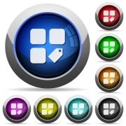 Tag component icons in round glossy buttons with steel frames - Tag component round glossy buttons