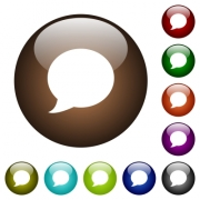 Blog comment bubble white icons on round color glass buttons - Blog comment bubble color glass buttons