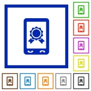 Mobile certification flat color icons in square frames on white background - Mobile certification flat framed icons