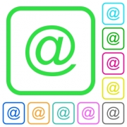 Single email symbol vivid colored flat icons in curved borders on white background - Single email symbol vivid colored flat icons