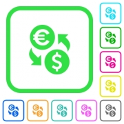Euro Dollar money exchange vivid colored flat icons in curved borders on white background - Euro Dollar money exchange vivid colored flat icons