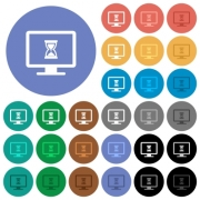Busy computer multi colored flat icons on round backgrounds. Included white, light and dark icon variations for hover and active status effects, and bonus shades on black backgounds.