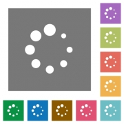 Preloader symbol flat icons on simple color square backgrounds - Preloader symbol square flat icons