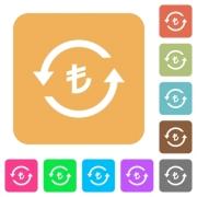 Turkish Lira pay back flat icons on rounded square vivid color backgrounds. - Turkish Lira pay back rounded square flat icons