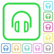 Headset vivid colored flat icons in curved borders on white background - Headset vivid colored flat icons