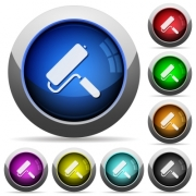 Paint roller icons in round glossy buttons with steel frames - Paint roller round glossy buttons