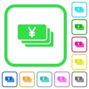 Yen banknotes vivid colored flat icons in curved borders on white background - Yen banknotes vivid colored flat icons