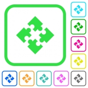 Modules vivid colored flat icons in curved borders on white background - Modules vivid colored flat icons