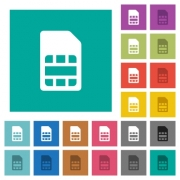 SIM card multi colored flat icons on plain square backgrounds. Included white and darker icon variations for hover or active effects. - SIM card square flat multi colored icons