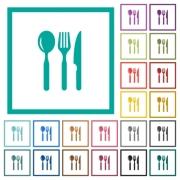 Restaurant flat color icons with quadrant frames on white background - Restaurant flat color icons with quadrant frames