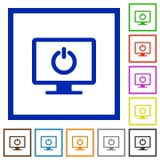 Display standby mode flat color icons in square frames on white background - Display standby mode flat framed icons