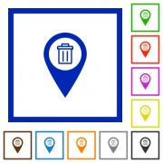 Delete GPS map location flat color icons in square frames on white background - Delete GPS map location flat framed icons