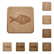 Fish on rounded square carved wooden button styles - Fish wooden buttons
