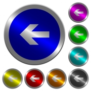 Left arrow icons on round luminous coin-like color steel buttons - Left arrow luminous coin-like round color buttons