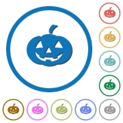 Halloween pumpkin flat color vector icons with shadows in round outlines on white background - Halloween pumpkin icons with shadows and outlines