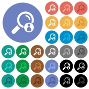 Search member multi colored flat icons on round backgrounds. Included white, light and dark icon variations for hover and active status effects, and bonus shades on black backgounds. - Search member round flat multi colored icons