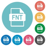 FNT file format flat white icons on round color backgrounds - FNT file format flat round icons