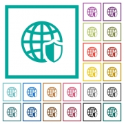 Internet security flat color icons with quadrant frames on white background - Internet security flat color icons with quadrant frames
