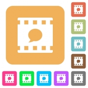 Comment movie flat icons on rounded square vivid color backgrounds. - Comment movie rounded square flat icons