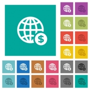 Online Dollar payment multi colored flat icons on plain square backgrounds. Included white and darker icon variations for hover or active effects. - Online Dollar payment square flat multi colored icons